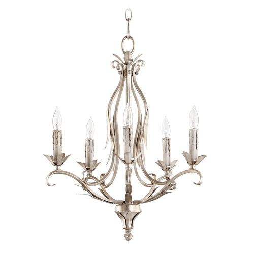 Quorum Lighting Quorum Lighting Flora Aged Silver Leaf Mini-Chandelier 6172-5-60