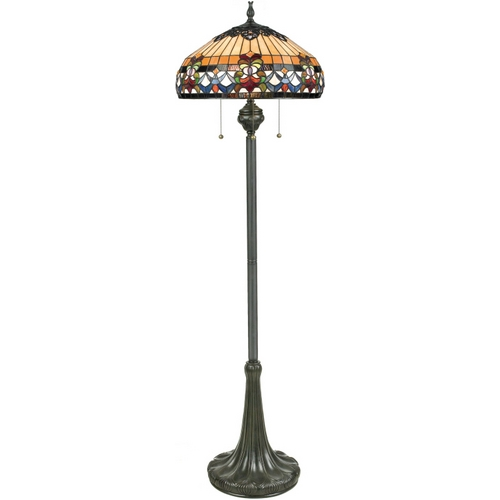 Quoizel Lighting Floor Lamp with Tiffany Glass in Vintage Bronze Finish TFBF9362VB