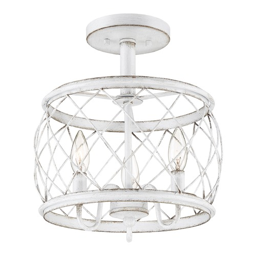 Quoizel Lighting Quoizel Antique White 3-Light Traditional Semi-Flushmount Light RDY1712AWH