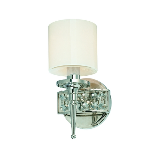 Troy Lighting Sconce Wall Light with White Glass in Polished Nickel Finish B1921PN