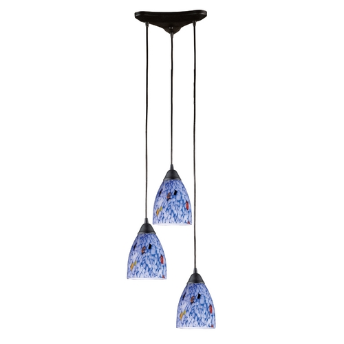 Elk Lighting Modern Multi-Light Pendant Light with Art Glass and 3-Lights 406-3BL