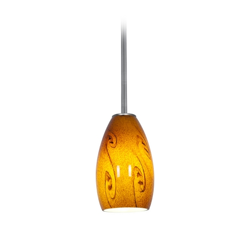 Access Lighting Modern Mini-Pendant Light with Amber Glass 28012-1R-BS/ASKY