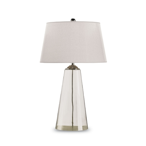 Currey and Company Lighting Modern Table Lamp with White Paper Shade in Clear Glass/silver Finish 6370