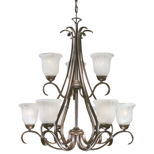 Minka Lighting Chandelier with Marble Glass in Brushed Nickel Finish with Nine Lights 1648A-156-PL