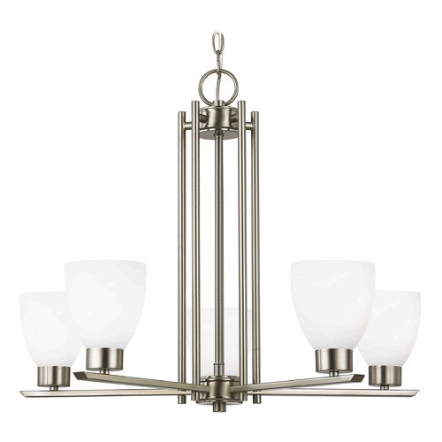 Design Classics Lighting Chandelier with White Glass in Satin Nickel - 5-Lights 1120-1-09 GL1028MB