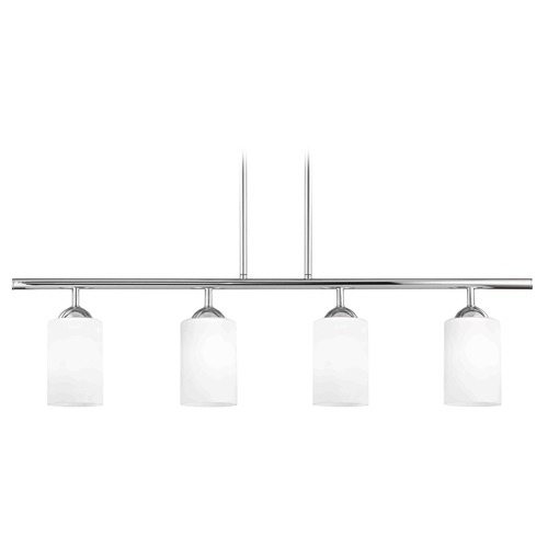 Design Classics Lighting Modern Island Light with White Glass in Chrome Finish 718-26 GL1028C