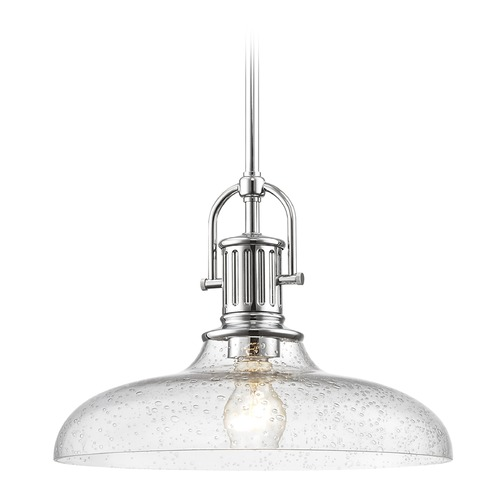 Design Classics Lighting Industrial Seeded Glass Chrome Pendant Light 14-Inch Wide 1764-26 G1784-CS