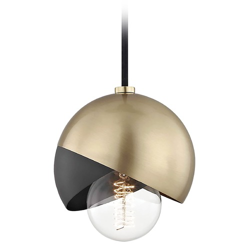 Mitzi by Hudson Valley Mid-Century Modern Mini-Pendant Light Brass Mitzi Emma by Hudson Valley H168701-AGB/BK