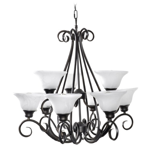 Maxim Lighting Chandelier with White Glass in Kentucky Bronze Finish 2658MRKB