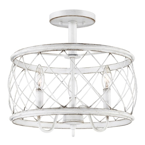 Quoizel Lighting Quoizel Antique White 3-Light Traditional Semi-Flushmount Light RDY1714AWH