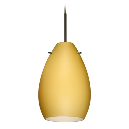 Besa Lighting Besa Lighting Pera Bronze Mini-Pendant Light with Oval Shade 1BT-1713VM-BR