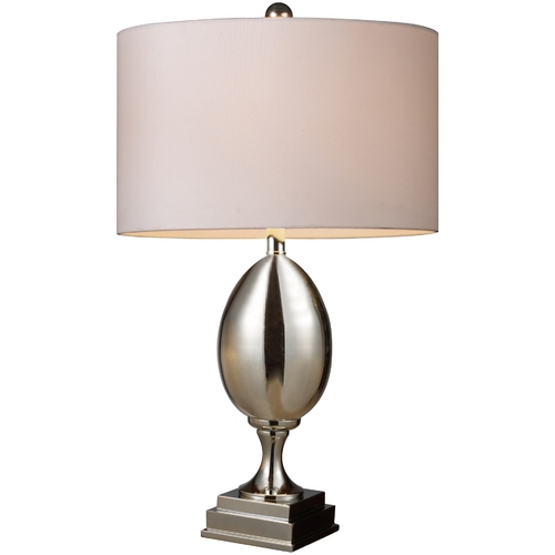 Elk Lighting Table Lamp with White Shade in Chrome Plated Glass Finish D1426W