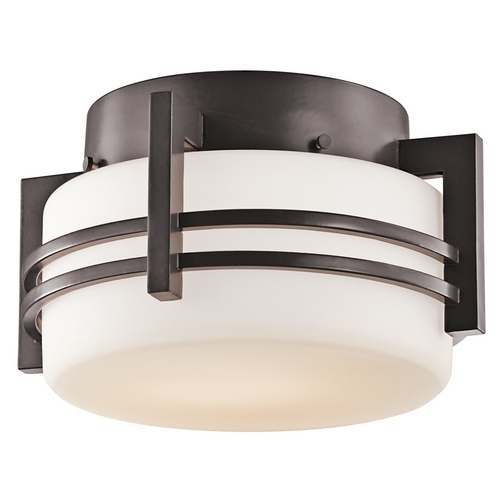 Kichler Lighting Kichler Outdoor Ceiling Light with White Glass in Bronze Finish 9557AZ