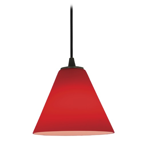 Access Lighting Access Lighting Martini Oil Rubbed Bronze Mini-Pendant Light with Conical Shade 28004-1C-ORB/RED