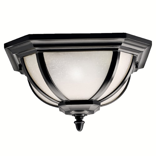 Kichler Lighting Kichler Black Flushmount Outdoor Ceiling Light 9848BK