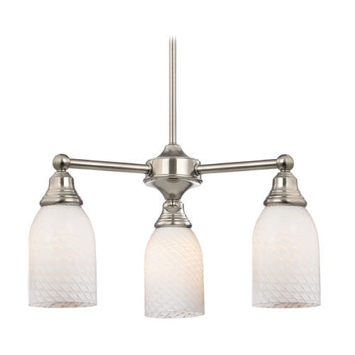 Design Classics Lighting Mini-Chandelier with White Glass in Satin Nickel Finish 598-09 GL1020D
