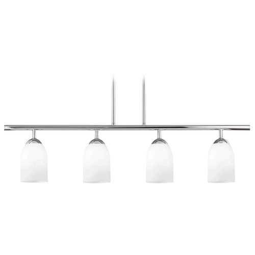 Design Classics Lighting Modern Island Light with White Glass in Chrome Finish 718-26 GL1028D