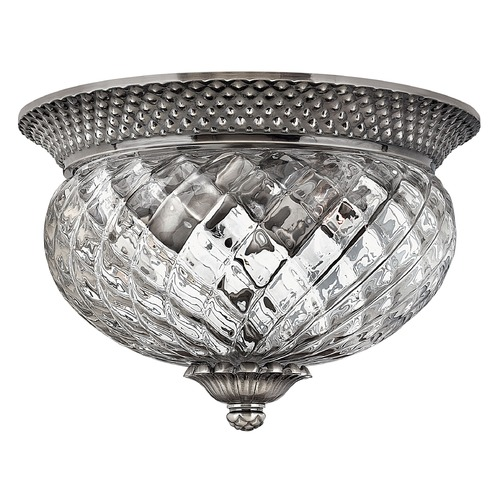 Hinkley Lighting Flushmount Light with Clear Glass in Polished Antique Nickel Finish 4102PL