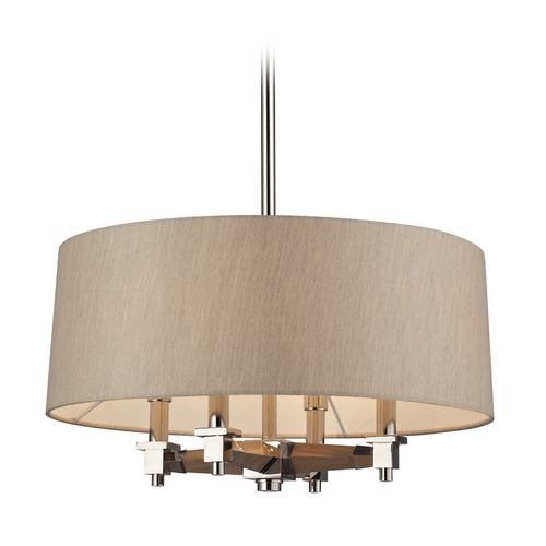 Elk Lighting Modern Drum Pendant Lights in Polished Nickel Finish 31335/4