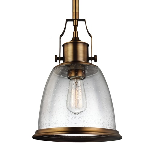 Feiss Lighting Feiss Hobson Aged Brass Mini-Pendant Light P1355AGB