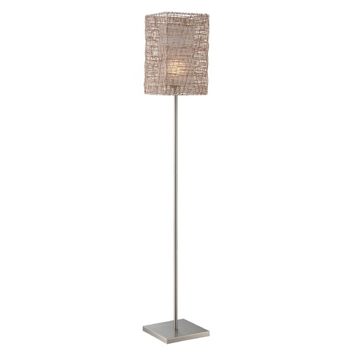 Lite Source Lighting Lite Source Polished Steel Floor Lamp with Rectangle Shade LS-82779