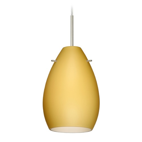 Besa Lighting Besa Lighting Pera Satin Nickel Mini-Pendant Light with Oval Shade 1BT-1713VM-SN