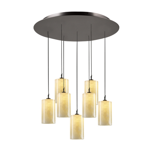 PLC Lighting Modern Pendant Light with Beige / Cream Glass in Oil Rubbed Bronze Finish 2887 ORB