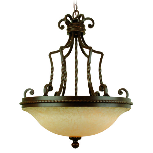 Jeremiah Lighting Jeremiah Riata Aged Bronze Textured Pendant Light with Bowl / Dome Shade 8123AG3