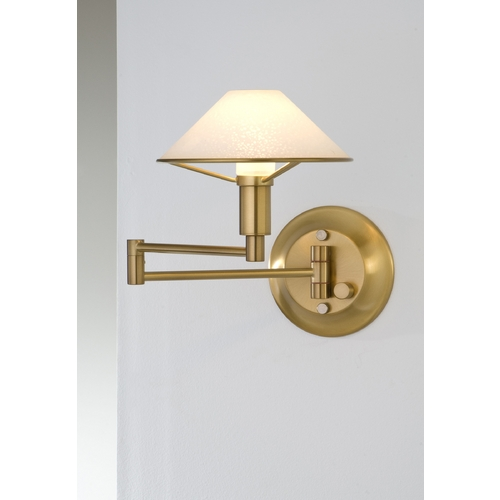 Holtkoetter Lighting Holtkoetter Modern Swing Arm Lamp with White Glass in Antique Brass Finish 9426 AB SW