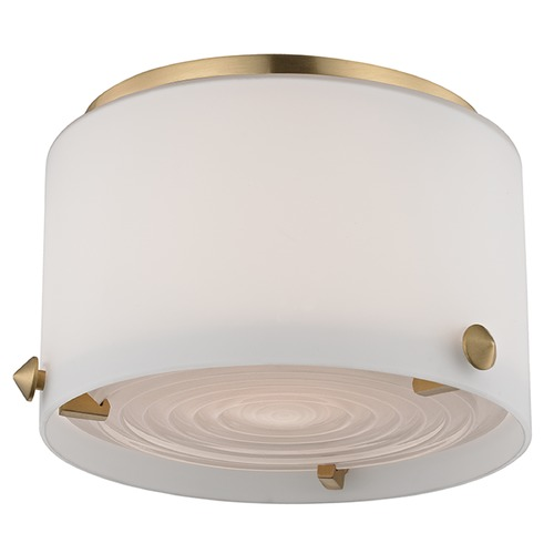 Hudson Valley Lighting Blackwell LED 1 Light Flushmount Light Drum Shade - Satin Brass 9006-SB