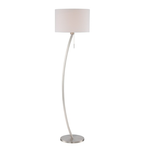 Lite Source Lighting Lite Source Satin Chrome Floor Lamp with Drum Shade LS-82733