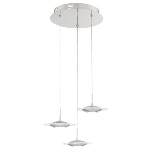 Lite Source Lighting Lite Source Fruma Chrome LED Multi-Light Pendant with Oblong Shade LS-19043