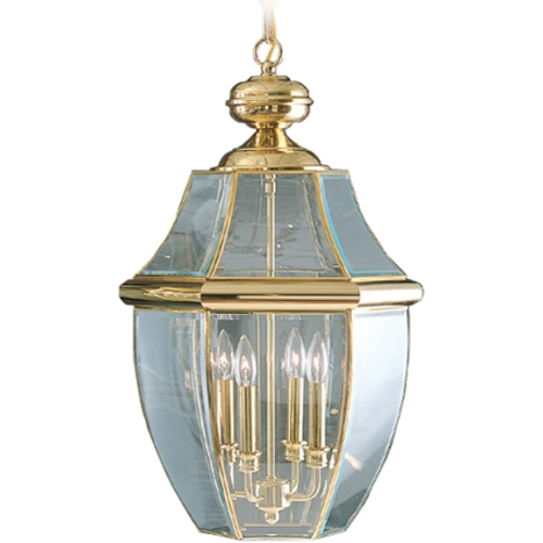 Quoizel Lighting Outdoor Hanging Light with Clear Glass in Polished Brass Finish NY1180B