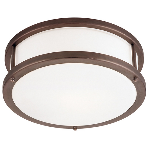 Access Lighting Modern Flushmount Light with White Glass in Bronze Finish 50079-BRZ/OPL
