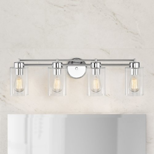 Design Classics Lighting Chrome Bathroom Light 704-26 GL1040C