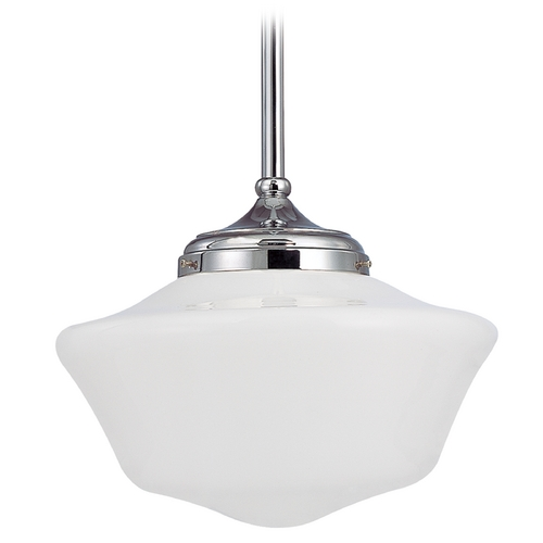 Design Classics Lighting 14-Inch Schoolhouse Pendant Light in Chrome Finish FA6-26 / GA14