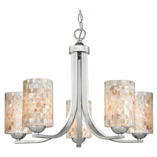 Design Classics Lighting Modern Chandelier with Mosaic Glass in Polished Chrome Finish 584-26 GL1026C