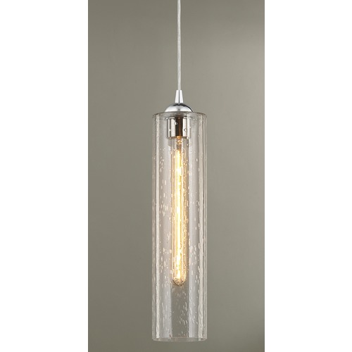 Design Classics Lighting Gala Fuse Chrome Mini-Pendant Light with Cylindrical Shade 582-26 GL1641C