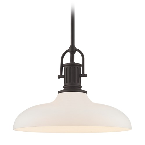 Design Classics Lighting Industrial Bronze Pendant Light with White Glass 14-Inch Wide 1764-220 G1784-WH