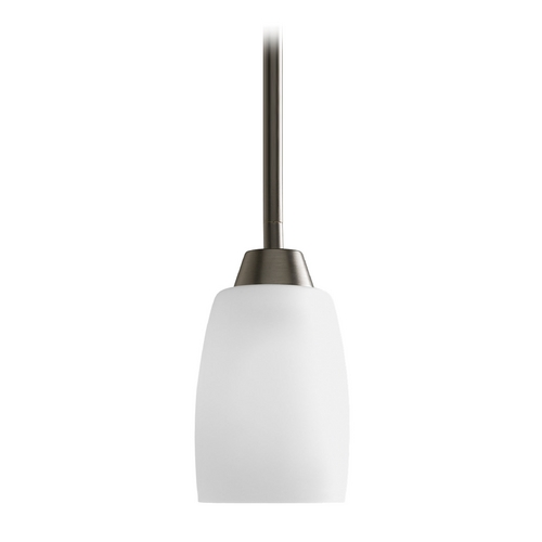 Progress Lighting Progress Mini-Pendant Light with White Glass P5108-20EBWB
