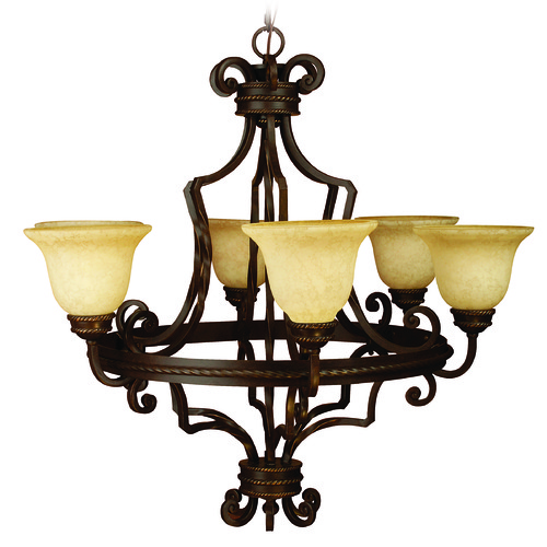 Jeremiah Lighting Jeremiah Riata Aged Bronze Textured Chandelier 8134AG6