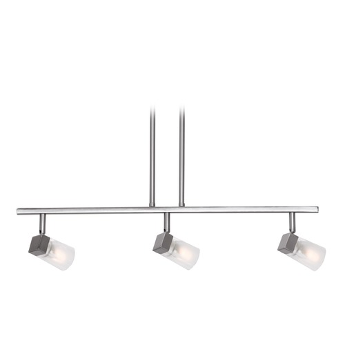 Access Lighting Access Lighting Ryan Brushed Steel Island Light with Square Shade 52143-BS/FCL
