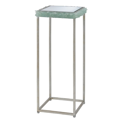 Currey and Company Lighting Currey and Company Cyathea Silver Leaf / Seaglass Accent Table 4000-0007
