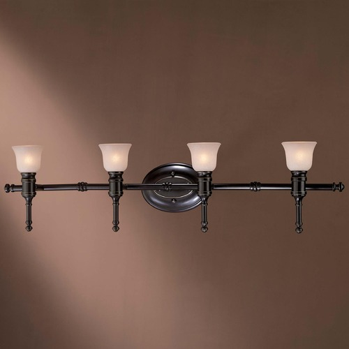 Minka Lavery Bathroom Light with White Glass in Restoration Bronze W/out Gold Highlights Finish 3514-37C