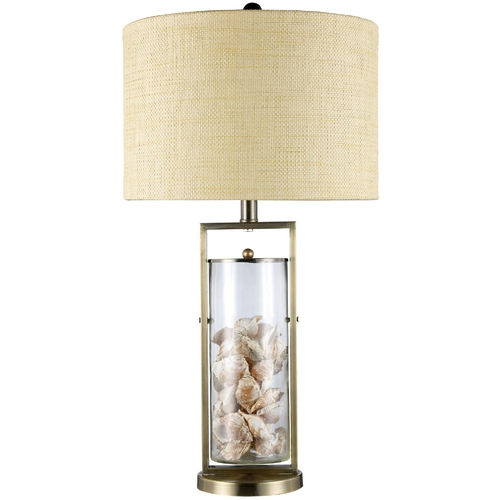 Elk Lighting Table Lamp with White Shade in Antique Brass and Clear Glass Finish D1978