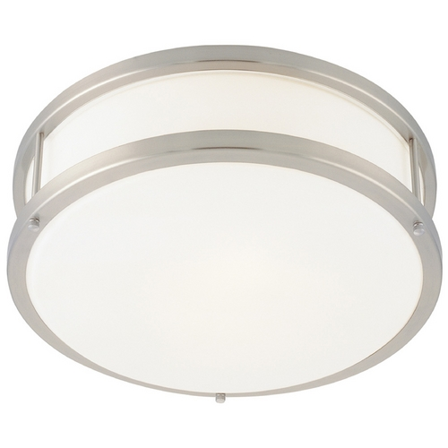Access Lighting Modern Flushmount Light with White Glass in Brushed Steel Finish 50079-BS/OPL