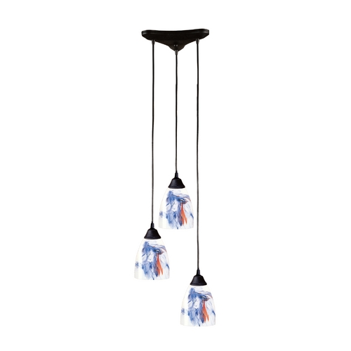 Elk Lighting Modern Multi-Light Pendant Light with Art Glass and 3-Lights 406-3MT