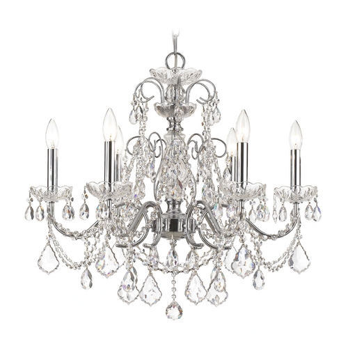 Crystorama Lighting Crystal Chandelier in Polished Chrome Finish 3226-CH-CL-S