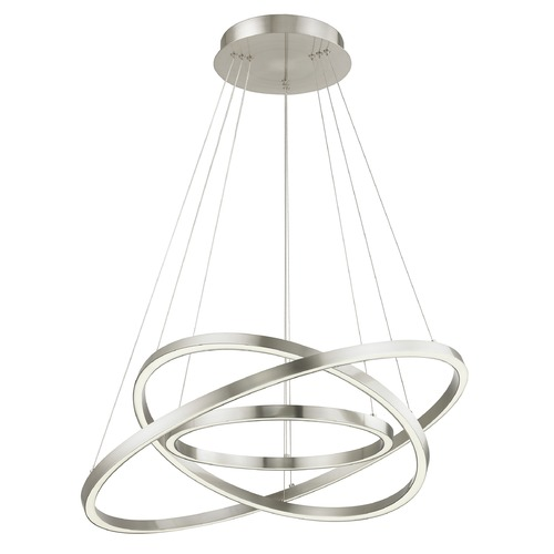 Design Classics Lighting Modern 32-Inch Triple Ring LED Pendant Light Satin Nickel Finish 1938-SN