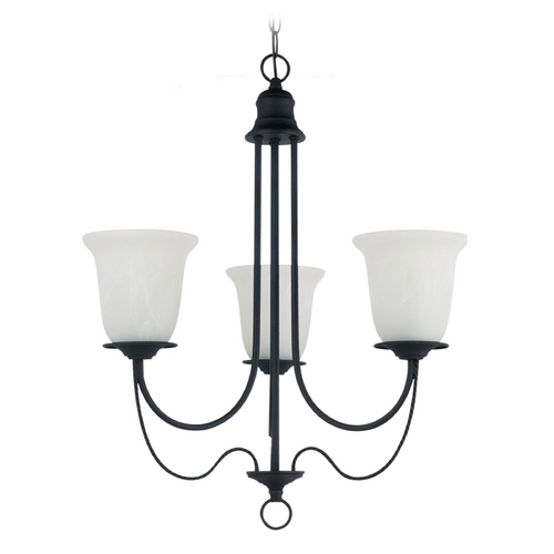 Sea Gull Lighting Chandelier with Alabaster Glass in Blacksmith Finish 31291-839
